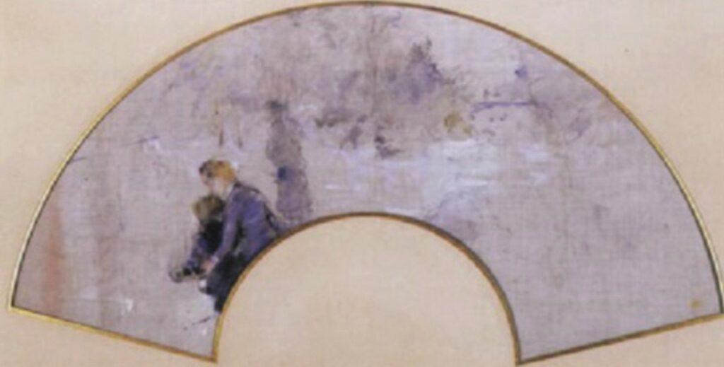 Berthe Morisot, 8IE-1886-94-1, Éventails =1884, CR697, Le patinage (skating), fan wc, 23x47, A2002/07/05