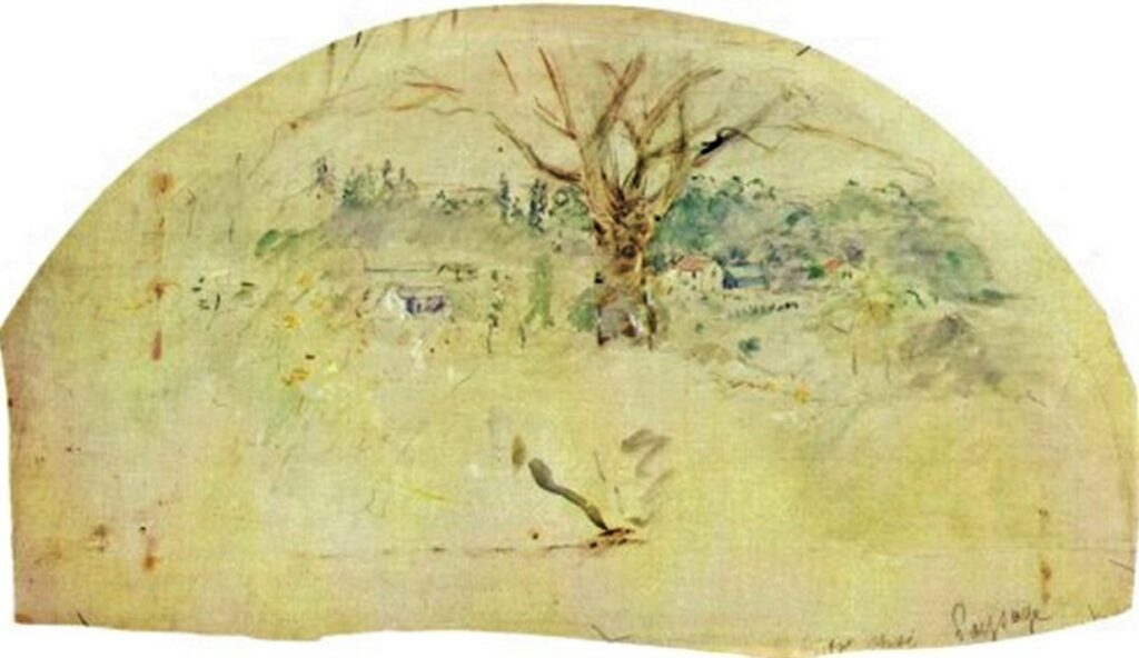 Berthe Morisot, 8IE-1886-94-6, Eventails. Maybe(??): 1884, CR701, Bougival, fan, 53x30, Marmottan