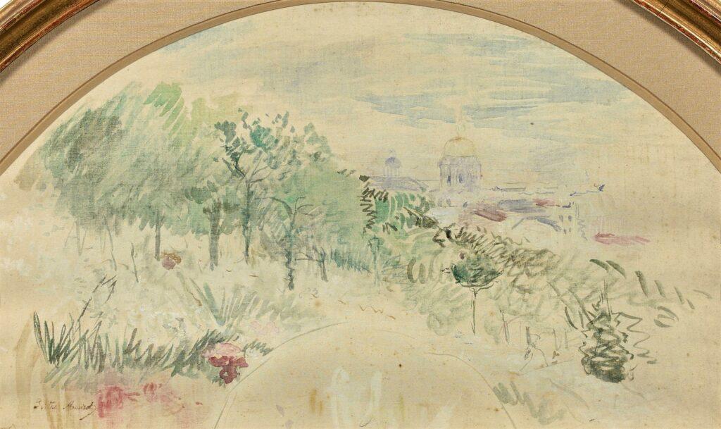 Berthe Morisot, 8IE-1886-94-7, Eventails. Compare: 1886, CR737, Dome des invalides, vu du Trocadéro, fan, wc, d59 or 27x46, A2020/07/09