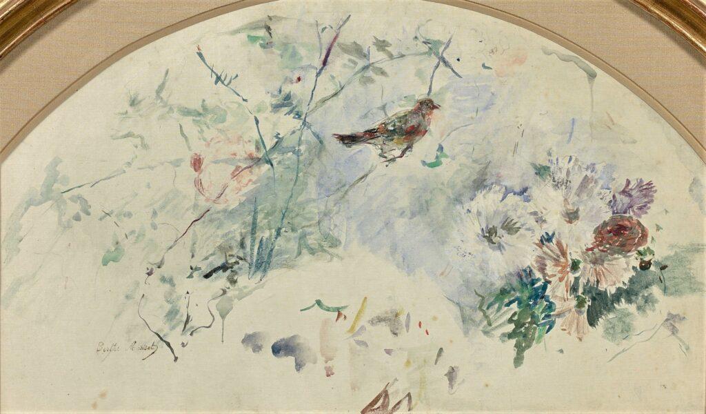Berthe Morisot, 8IE-1886-94-8, Eventails. Compare: 1886, CR748, Oiseau et fleurs (birds and flowers), fan, wc, d51 or 27x46, A2020/07/09
