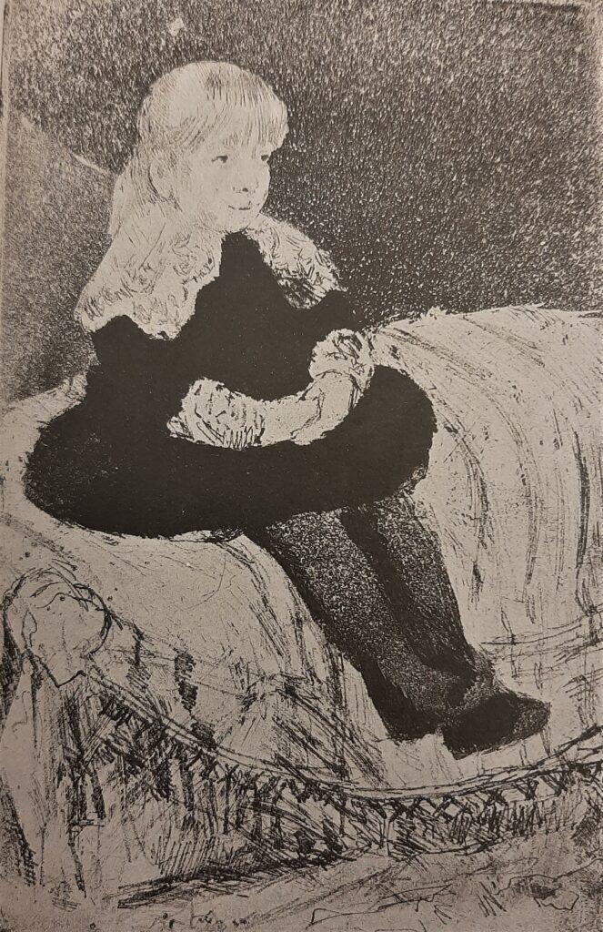 Mary Cassatt, 5IE-1880-27, Portrait d'enfant, Eau forte, second etat =1883, CR49, Mlle Luquet seated on a couch, etch soft aqua, 22x14, NYPL (R188,no49;iR6;iR61;R90II,p147+162;R2,p311)