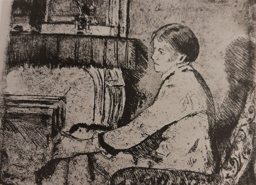 Mary Cassatt, 5IE-1880-29, Au coin de feu, eau-forte Option 2: 1883, Before the fireplace (no.2), etch, 16x21, NYPL (R188,no65)