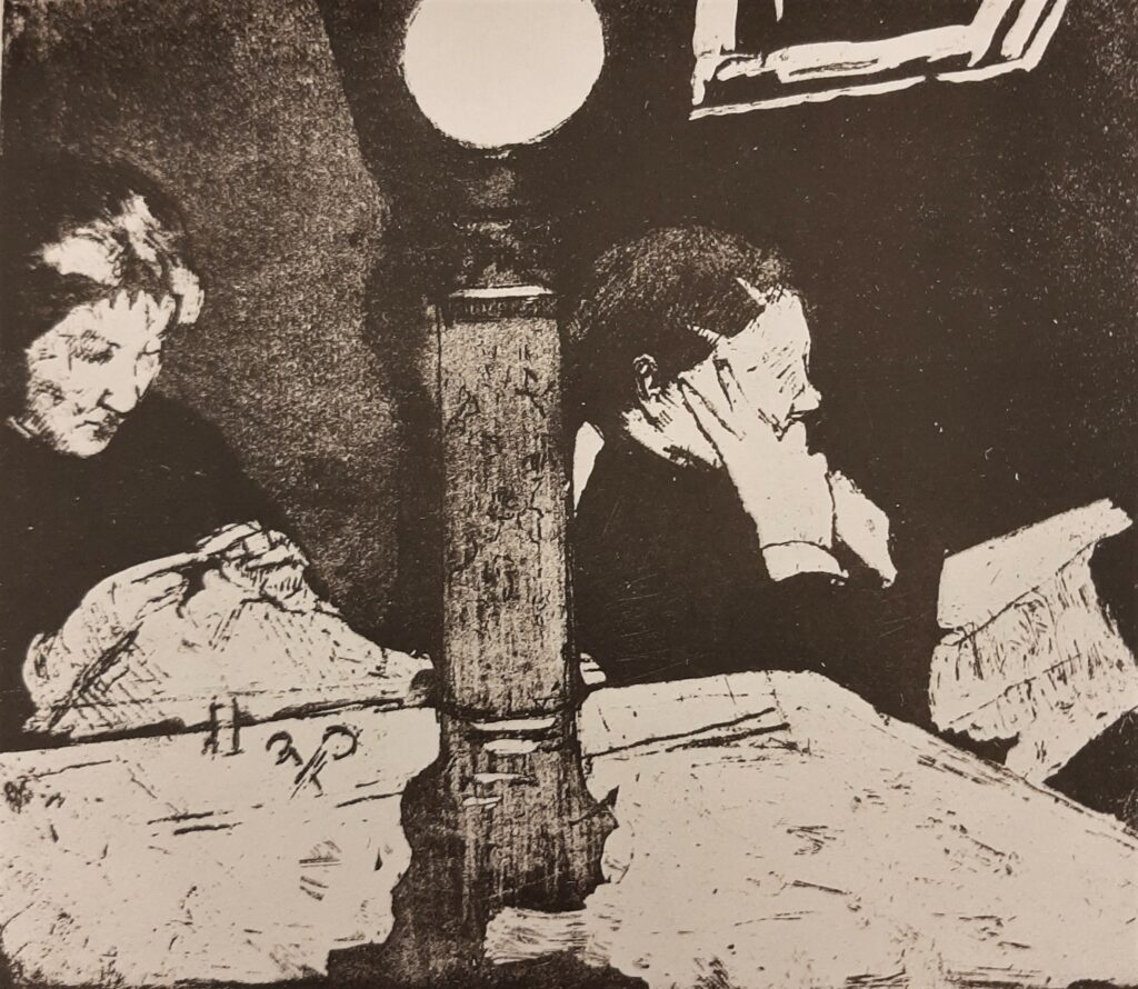 Mary Cassatt, 5IE-1880-31, Le Soir, eau forte Probably: 1882ca, Under the lamp, etch, 19x22, A2010/10/26 + NYPL (R188,no71)
