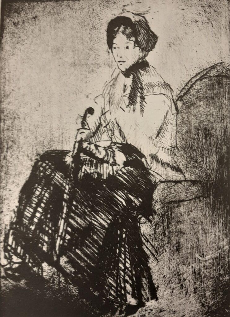 Mary Cassatt, 5IE-1880-32, Portrait de femme, eau-forte Perhaps: 1879, The Umbrella, etch, 27x18, Philadelphia MA (R188,no5)
