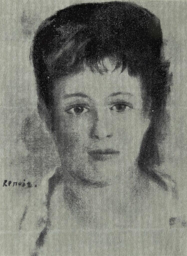 August Renoir, 1IE-1874-147, Tête de femme. Now: 1874, CR118, Head of a woman, 32x24, private (R87,p251;R90II,p28;R2,p122;R108,CR118;R30,no140;R15,p200)