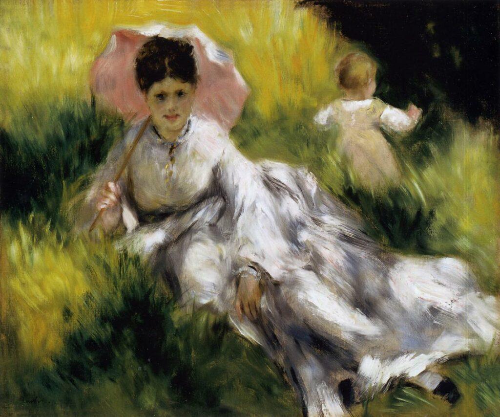 Renoir, 2IE-1876-209, femme et enfant. Uncertain option: 1873-77, Woman with Parasol and a Small Child on a Sunlit Hillside, 47x56, MFA Boston (iR2;R30,no303)