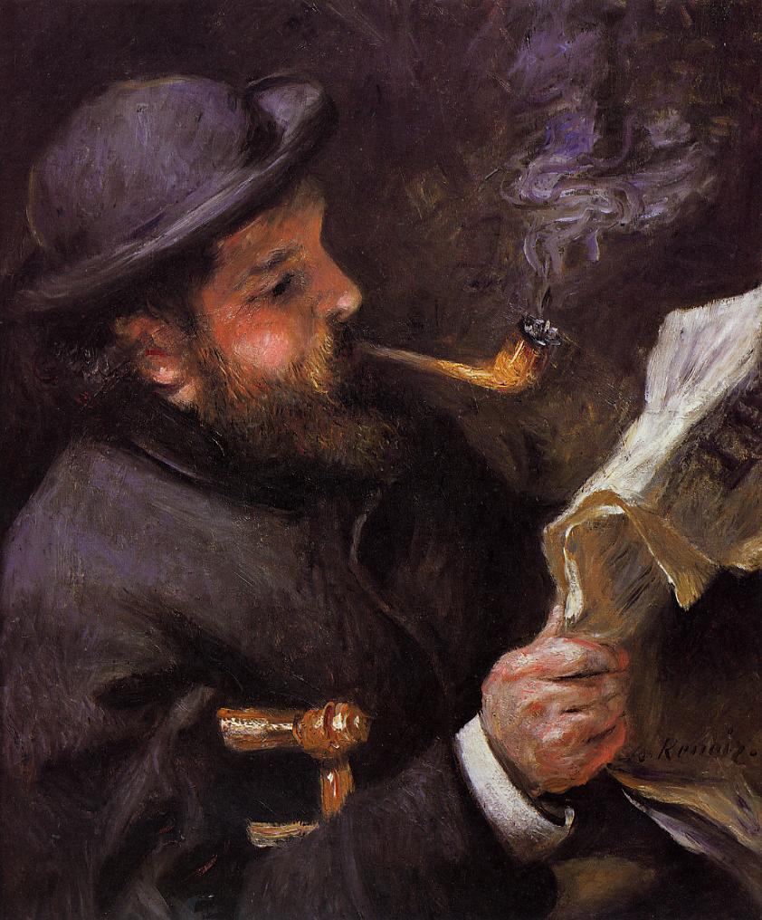 Renoir, 2IE-1876-220, Portrait de M.M... Maybe??: 1872ca, CR22, Claude Monetreading, 61x50, Marmottan (iR2;R30,no84)