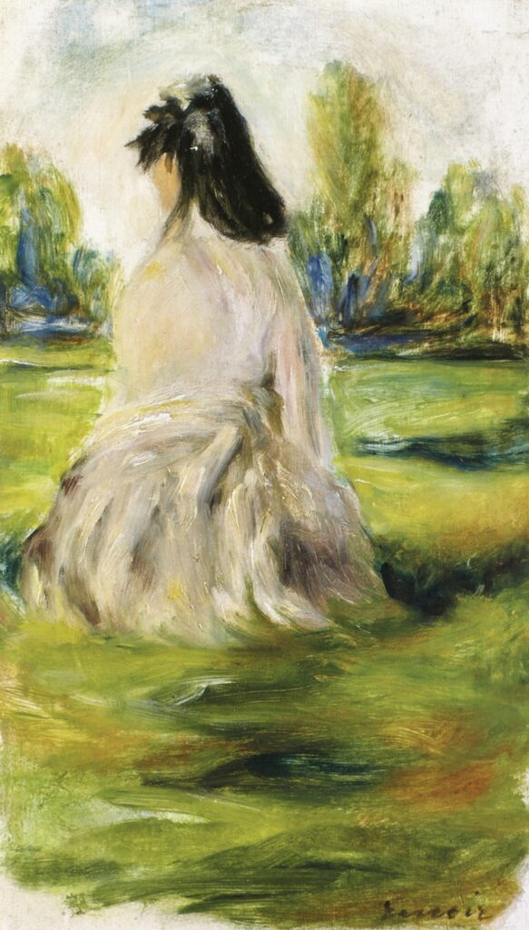 August Renoir, S1866-Accepted but withdrawn, a quick sketch. Very uncertain: 1866 (or 1870), Young Woman Seated in the Countryside (Lise Tréhot), 25x14, private
