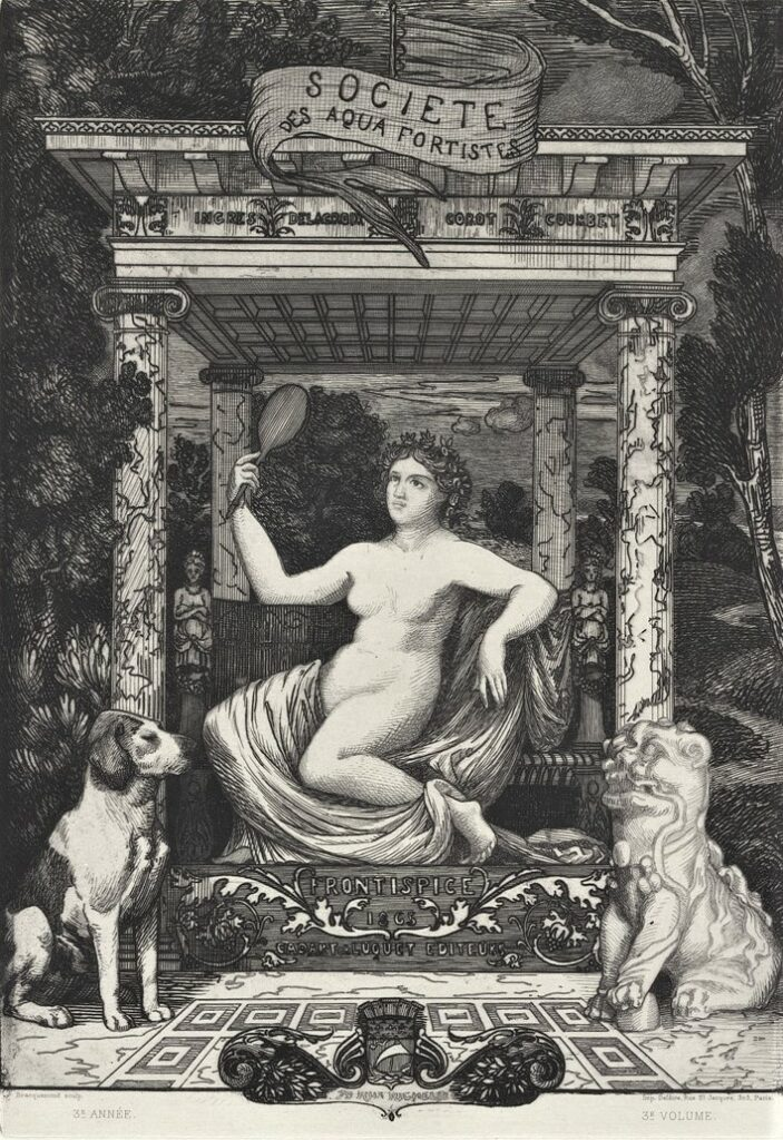 Félix Bracquemond, 1865, Frontispice pour un album de la Société des Aquafortistes, etch, 36x25, NGA Canberra (iR10;Mx;iR61)