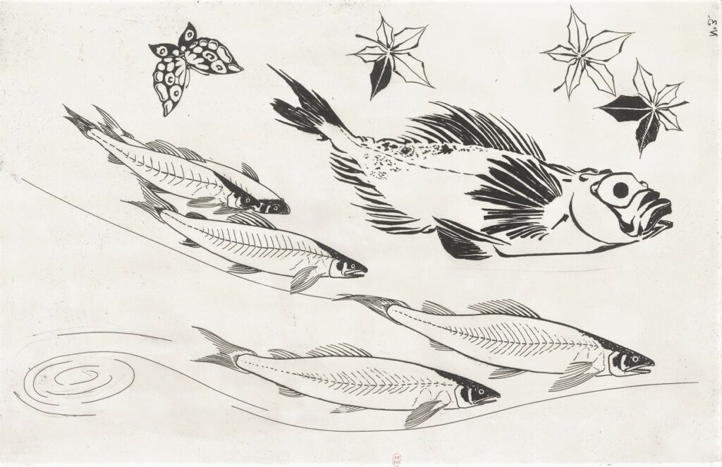Félix Bracquemond, 5IE-1880-5, Eaux-fortes pour décoration... Probably: 1866, B532, Rousseau no.3, Fish, flowers, butterfly, etch, 27x42, BNF Paris (iR40)