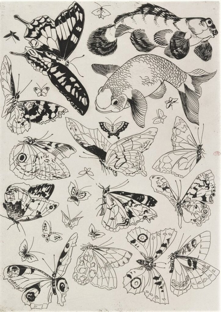 Félix Bracquemond, 5IE-1880-5, Eaux-fortes pour décoration... Probably: 1866, B545, Rousseau no.16, Butterflies, fish, etch, 25x35, BNF Paris (iR40;R73,p41)