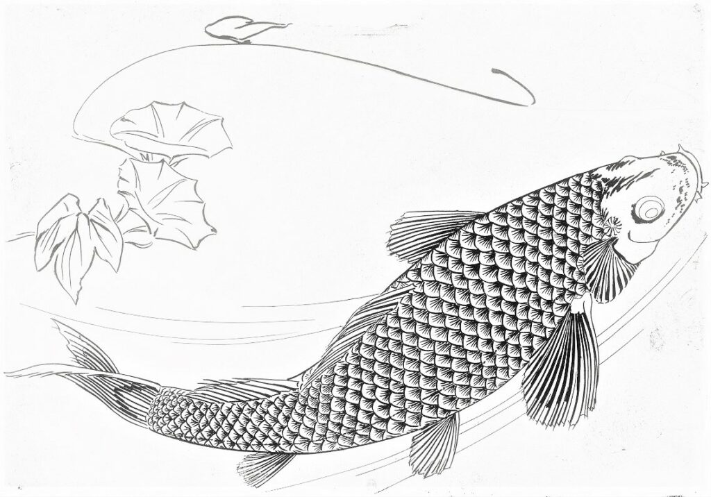 Félix Bracquemond, 5IE-1880-5, Eaux-fortes pour décoration... Probably: 1866, B548, Rousseau no.19, Big fish (carp), etch, 25x35, BNF Paris (iR41;R73,p40)
