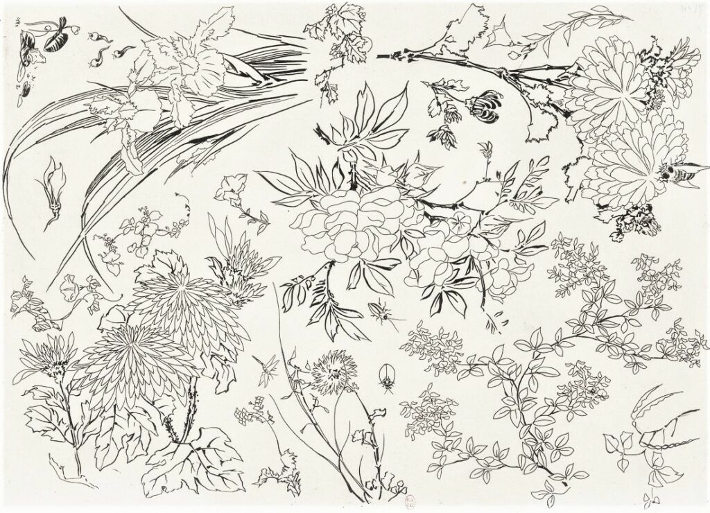 Félix Bracquemond, 5IE-1880-5, Eaux-fortes pour décoration... Probably: 1866, B551, Rousseau no.22 (or 15), flowers and insects, etch, 25x35, BNF Paris (iR40;R73,p40)