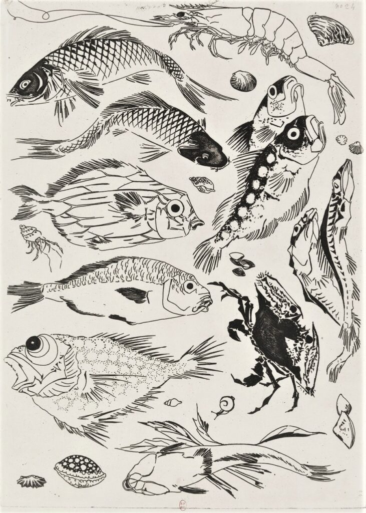 Félix Bracquemond, 5IE-1880-5, Eaux-fortes pour décoration... Probably: 1866, B553, Rousseau no.24, Fish, crab, shrimp, shellfish, etch, 35x25, BNF Paris (iR40)