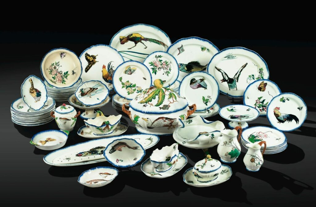 1866-67, Dinner service Rousseau, after the etchings of Félix Bracquemond, ceramic, xx, Uni Pennsylvania (iR10;R85,no530-554). Exhibited EU-1867.