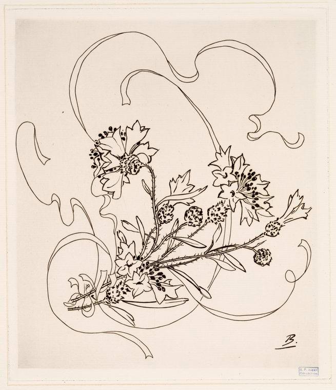 Félix Bracquemond,1872-78, B715, no.41, 10of12, Assiette (bleuet), etch for Service à fleurs et rubans, Haviland, xx, xx (iR61;R85,no674-720)