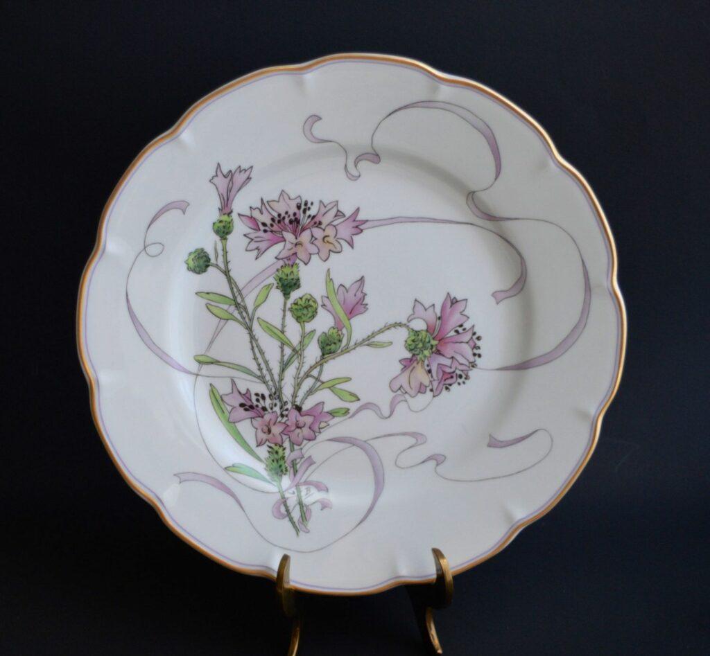 1879ca, Service à fleurs et rubans, pour Haviland, Plate Ail Sauvage, after an etch of Félix Bracquemond,1of12, d26, xx (iR10;aR4;R85,no674-720)