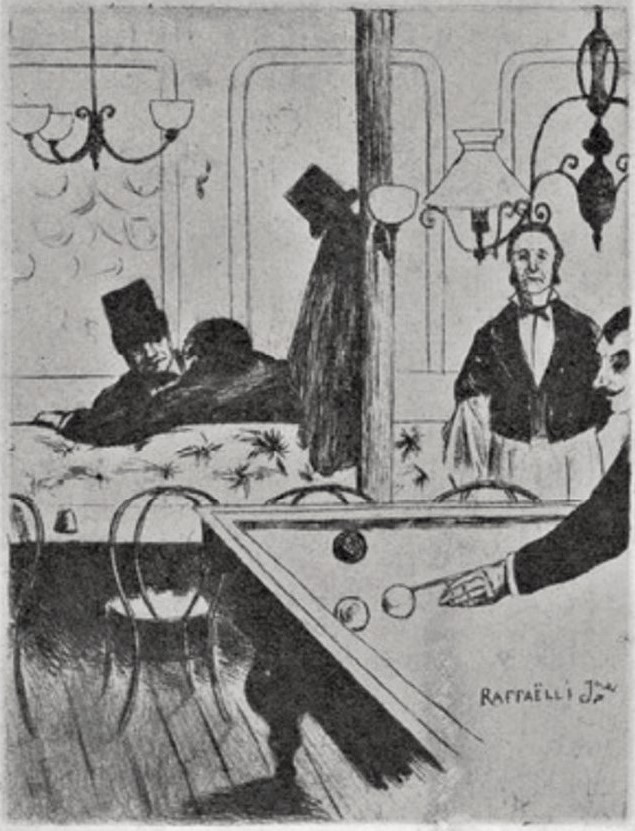 Jean-Marius Raffaëlli, 5IE-1880-180-2, Six eaux-fortes. Maybe: 1880ca, Man playings billiards, etch, xx, Delteil 1923 (iR40;R138XVI,p201;R90II,p173)