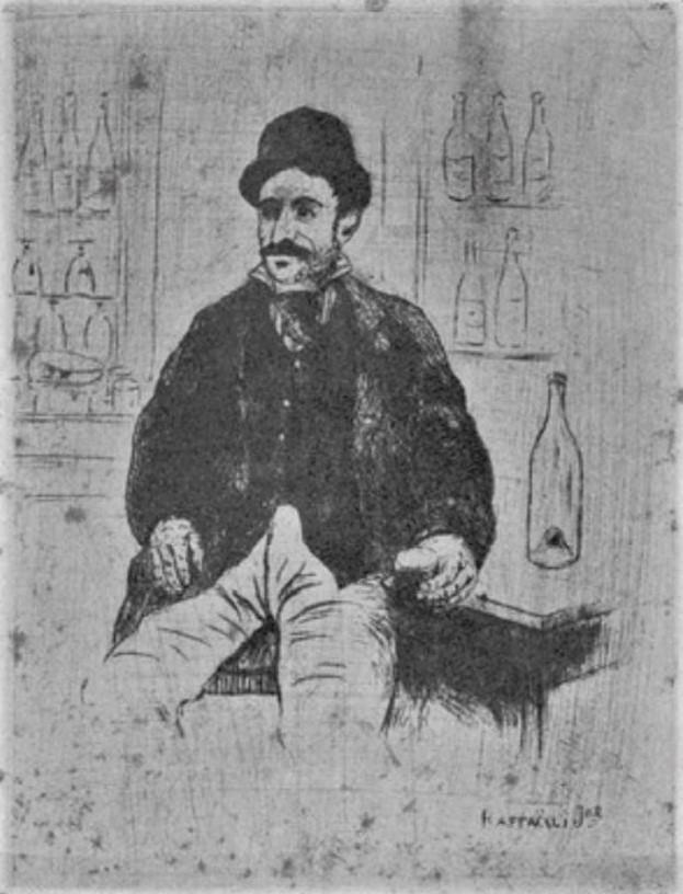 Jean-Marius Raffaëlli, 5IE-1880-180-4, Six eaux fortes. Maybe: 1880ca, seated man drinking, etch, xx, Delteil 1923 (iR40;R138XVI,p201;R90II,p174)