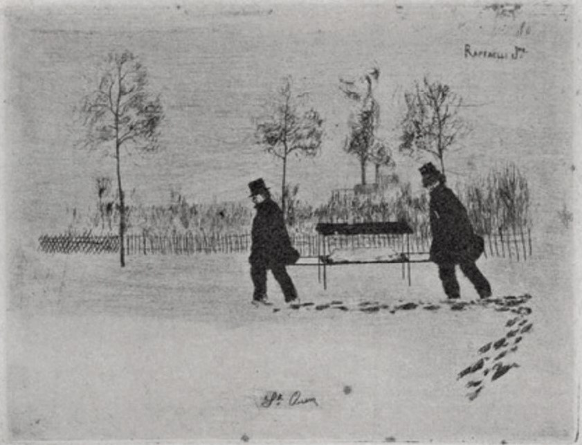Jean-Marius Raffaëlli, 5IE-1880-180-6, Six eaux-fortes. Maybe: 1880ca, two man carrying a stretcher (coffin) in the snow (St. Ouen), etch, xx, Delteil 1923 (iR40;R138XVI,p202;R90II,p174+156)