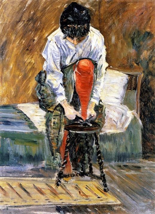 Signac, 1883, CR33, The red stocking (Le bas rouge; Berthe Roblès), 61x46, private (iR2;iR10;R39,p92)