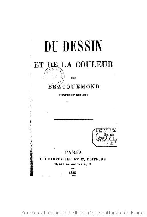 Félix Bracquemond, 1885, Du dessin et de la couleur, book (iR10;iR40)