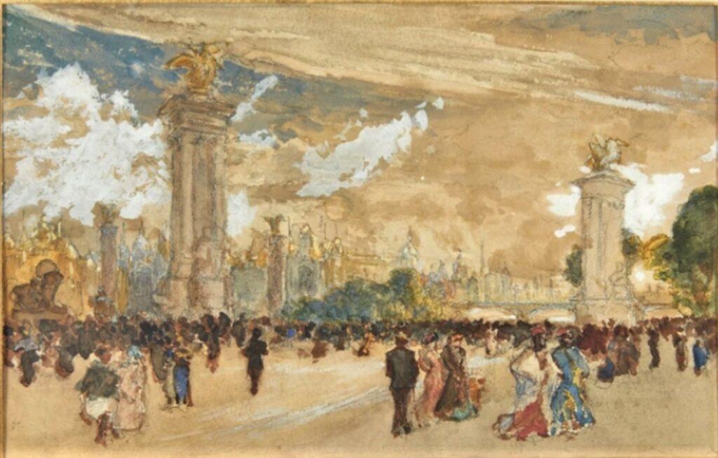 Félix Bracquemond, 1900ca, Foule au pont Alexandre III pendant l'Exposition Universelle de 1900, wc, 16x24, A2019/10/08 (iR11;iR10)