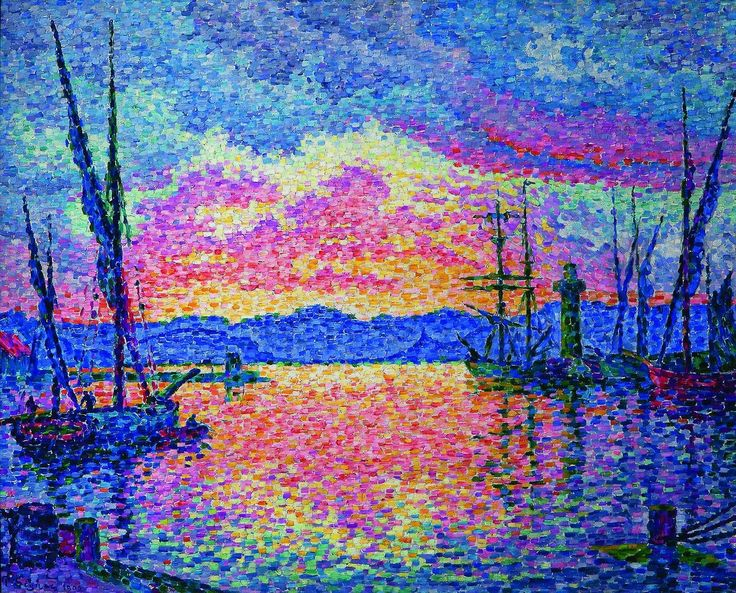 Signac, 1906, CR446, The Harbour, Red Sunset (St. Tropez), 65x81, private Chicago (iRx;R106) BJ-1907-23