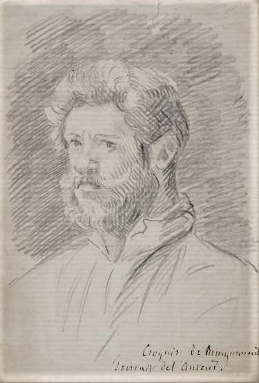 Félix Bracquemond, 1IE-1874-23, Portrait (dessin). Maybe??: 1860ca, Croquis de Bracquemond, Portrait de l'auteur, dr, 10x17, A2015/11/26 (iR239;iR10)