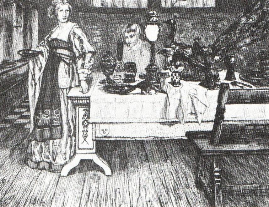 Félix Bracquemond, 1IE-1874-25-6, La Servante, d'après Leys =1868, B280-3, The servant (after Leys), etch, 14x23, BNF Paris (R90II,p18;iR10;R85III,no280;R2,p119)