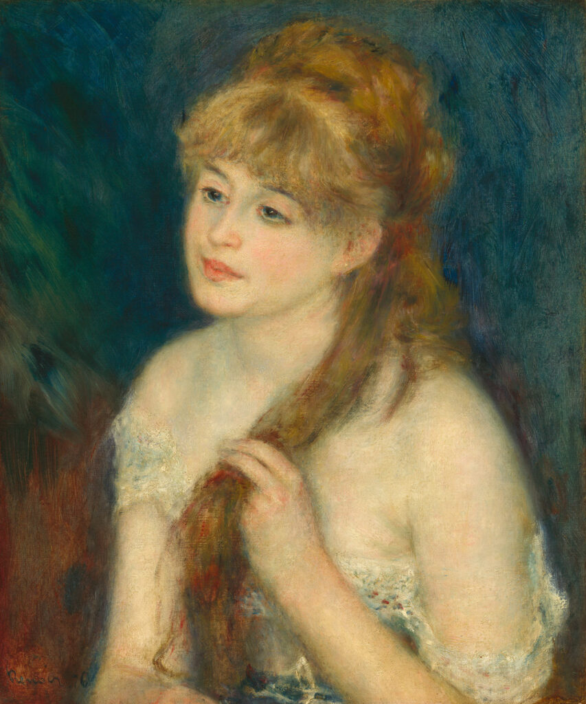 Renoir, 3IE-1877-193, Jeune fille. Maybe??: 1876, CR172, Young Woman Braiding Her Hair (portrait Mlle Muller), 55x46, NGA Washington (Mx;R30,no222;R31,no42)