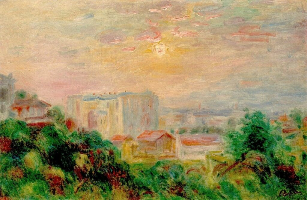 Renoir, 3IE-1877-197, coucher de soleil. Maybe: 18xx, view of Montmartre, xx, xx (iR10;iR64;iR2)