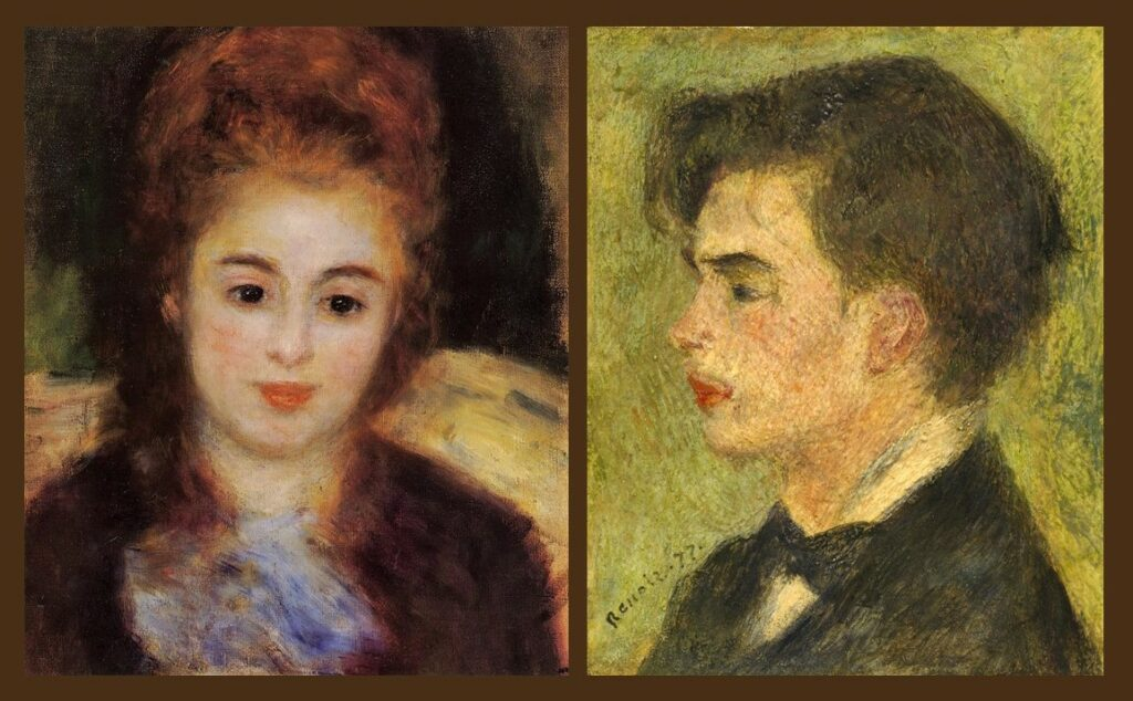 Renoir, 3IE-1877-202, deux têtes. Maybe???: 1876, Head of a Young Woman Wearing a Blue Scarf (Mme Henriot), 41x33, private (iRx;R30,no217) + 1877, George Rivière, 37x29, NGA Washington (iRx;R30,no301)