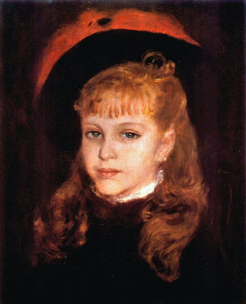 Renoir, 3IE-1877-205 Portrait d'enfant. Maybe??: 1876, Girl with a pink feather, 47x41, Niarchos coll Paris (iR52;R30,no236)
