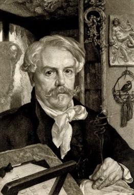 Félix Bracquemond, 5IE-1880-4, Portrait de M. Ed. de Goncourt. Compare: 1880, Portrait of Edmond de Goncourt, etch (?), 60x31, St. Louis AM (iR10;iR243;iR6;R2,p318;R90II,p159;R85,no54)