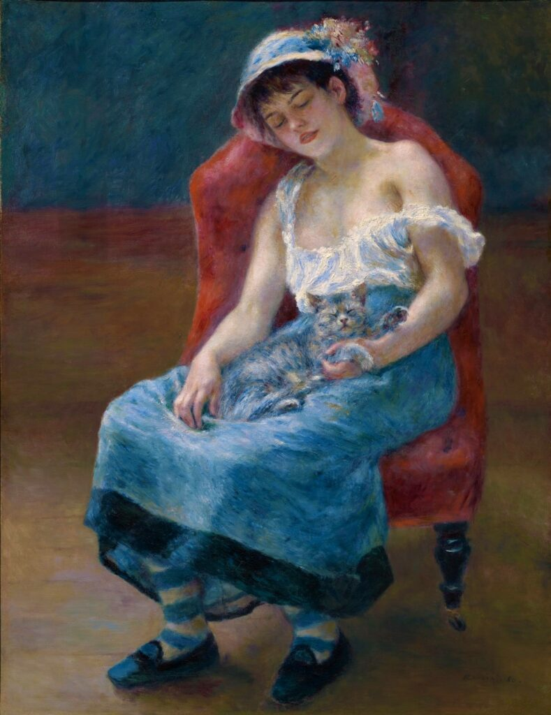Renoir, 7IE-1882-137, jeune fille au chat =1880, CR330, Sleeping Girl, 120x92, CAI Williamstown (Mx;R15,p209;R31,no50;R30,no408;R90II,p229)