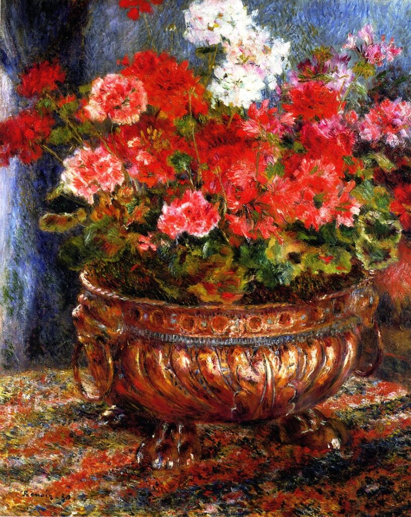 Renoir, 7IE-1882-156, Géraniums. Maybe??: 1880, Geraniums in a Copper Basin, 81x61, private (iRx)