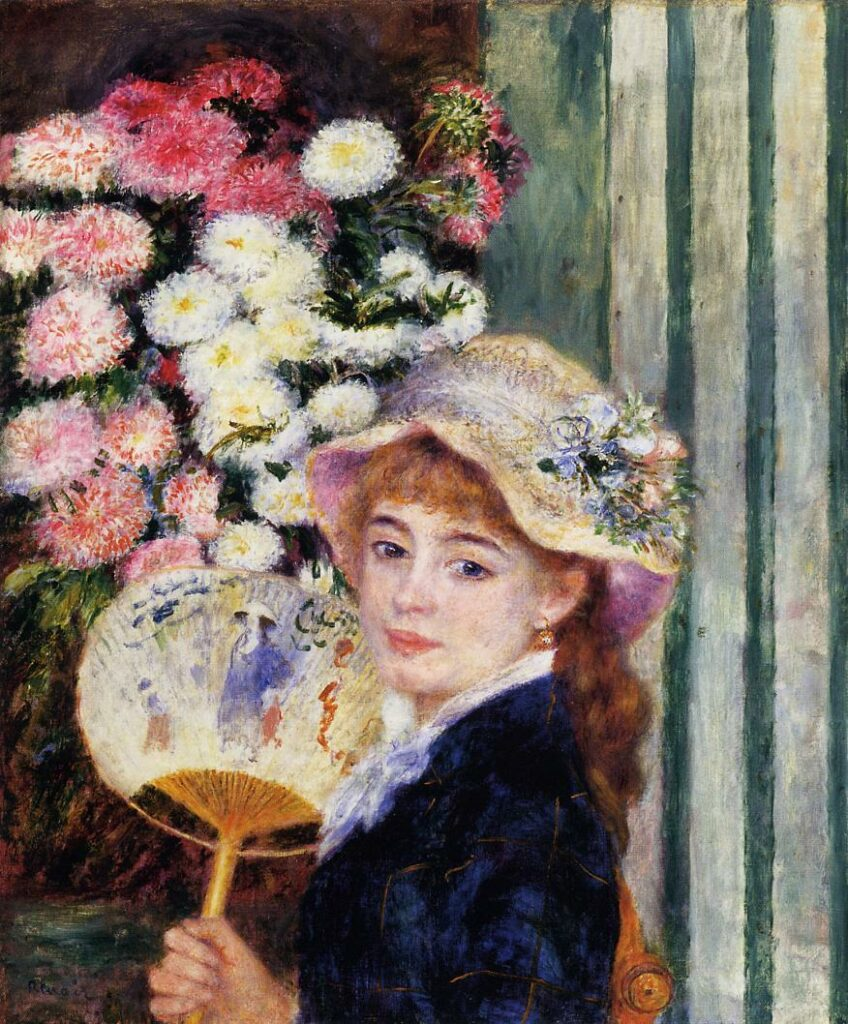 Renoir, 7IE-1882-160, Femme à l'éventail Compare: 1879-81ca, Girl with Fan (Jean Samary), 65x54, CAI Williamstown (iRx;R30,no456)