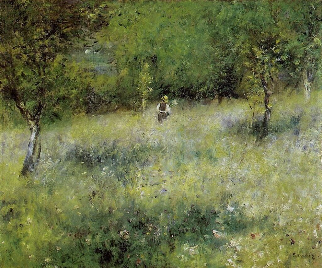 Renoir, 7IE-1882-161+hc3, Un verger Normand. Compare: 1872-75ca (1878), Spring at Chatou, 59x74, private (iR7;R31,no24;R30,no312)