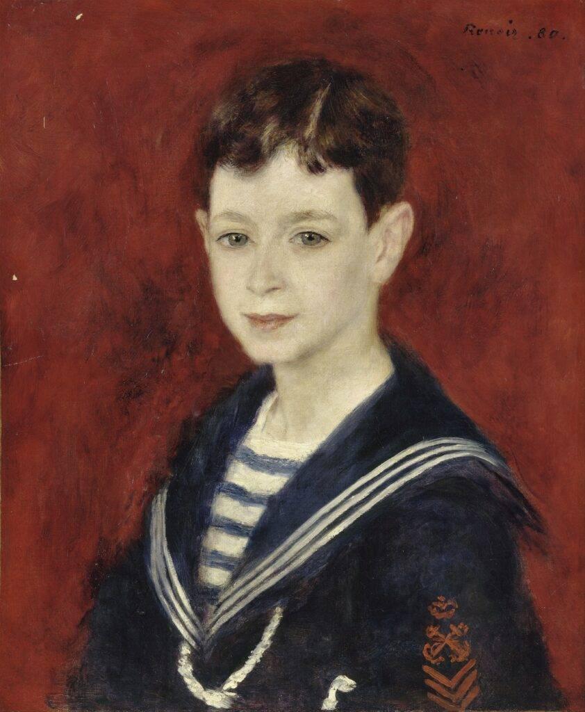 Renoir, 7IE-1882-161+hc4, Tête de petit garçon. Maybe: 1880, Fernand Halphen as a Boy, 46x38, Orsay (iR52;R30,no418)