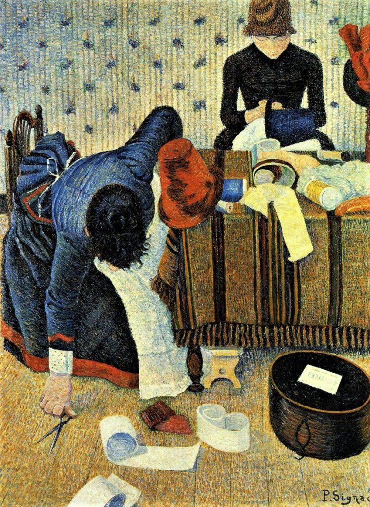 Paul Signac, 8IE-1886-184, Apprêteuse et garnisseuse (modes), rue du Caire =1885-86, CR111, opus 127, Two Milliners, 112x89, Bührle Zurich (iR2;iR59;R90II,p252+276;R106,no111;R2,p446+424;M85). Also SdI-1886-363.