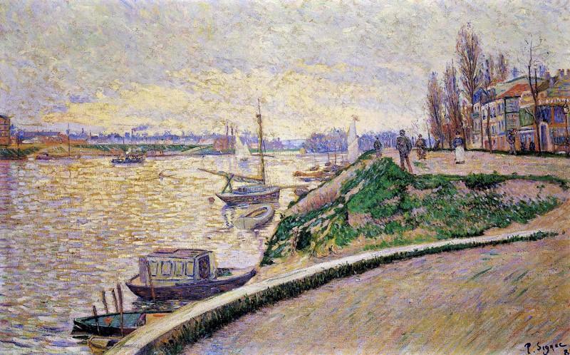 Paul Signac, 8IE-1886-185, La Berge, Asnières =1885, CR109, opus 122, La Berge, Asnières, 73x100, private (iR135;R106,no109;R90II,p252+276;R2,p446+470). Also SdI-1886-371.