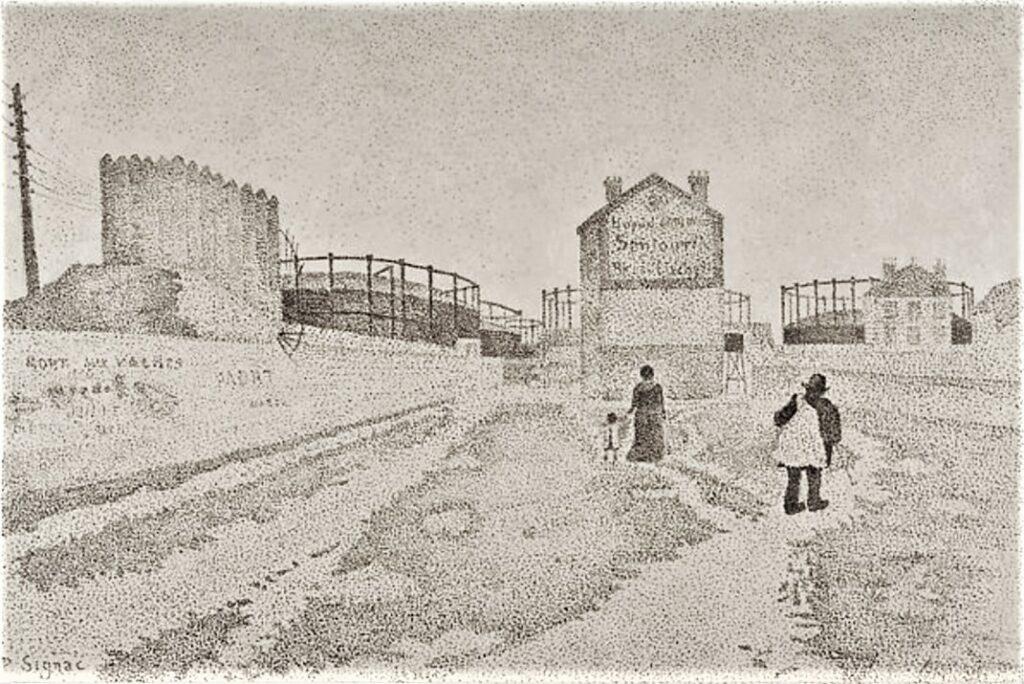 Paul Signac, 8IE-1886-187, Passage du Puits-Bertin, Clichy. Compare: 1886, Passage du Puits-Bertin, Clichy, dr, 25x37, Metropolitan (iR10;iR6;R39,p118;cpR106,no118;R2,p446;M23)