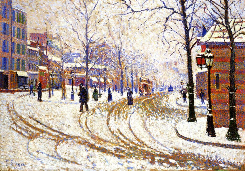 Paul Signac, 8IE-1886-191, La Neige, Boulevard Clichy =1886, CR115, opus 128, Snow, Boulevard de Clichy, Paris, 47x66, Minneapolis IA (iR2;iR59;R39,p110;R3,p281;R106,no115;R2,p447;R90II,p253+277;M155). Also SdI-1887-456.