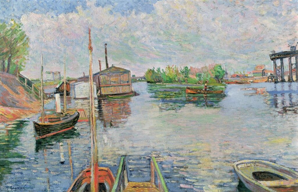 Paul Signac, 8IE-1886-193, L'Abreuvoir, Asnières. Compare: 1885, CR88R, opus 96, The Bateau-Lavoir Bailet, 59x91, private (iR114;iR10;R106,no88R+110;R2,p446).
