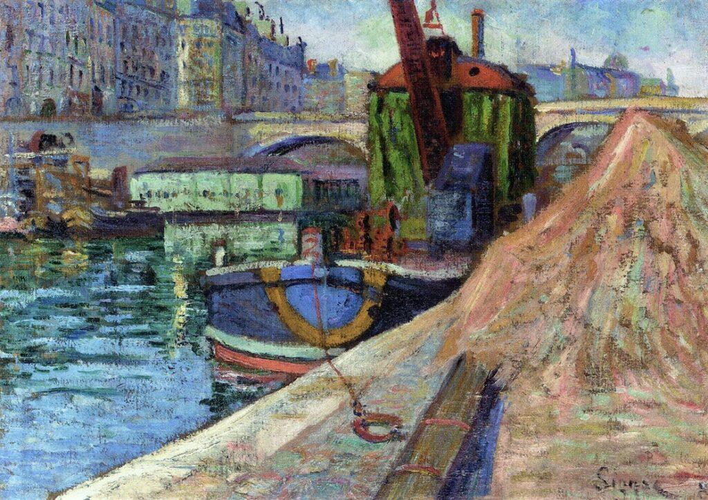 Paul Signac, 8IE-1886-198, La Grue 'l'Union', Île Saint-Louis =1884-85, CR82R, opus91, La Grue l'Union, Île Saint-Louis (Le pont Louis-Philippe), 33x46, A2000/06/27 (iR2;iR11;R1,p502;R90II,p253+278;R106,no82R;R2,p446)