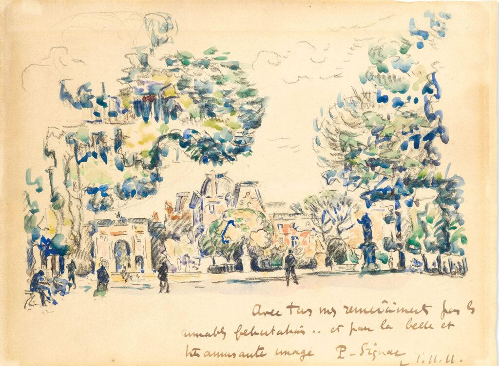 Paul Signac, 8IE-1886-200, Aux Tuileries, dessin. Compare: 1911, Paris, le Jardin des Tuileries, wc, 22x30, A2020/10/15 (iR10;iR15;R2,p446;R90II,p253)