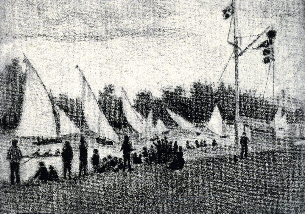 Paul Signac, 8IE-1886-201, L'Île des Ravageurs =1885-6ca, Regattas on the Seine (at Argenteuil), dr, 20x30, Louvre (iR10;iR223;R39,p102;R90II,p253+278;R2,p446;M5)