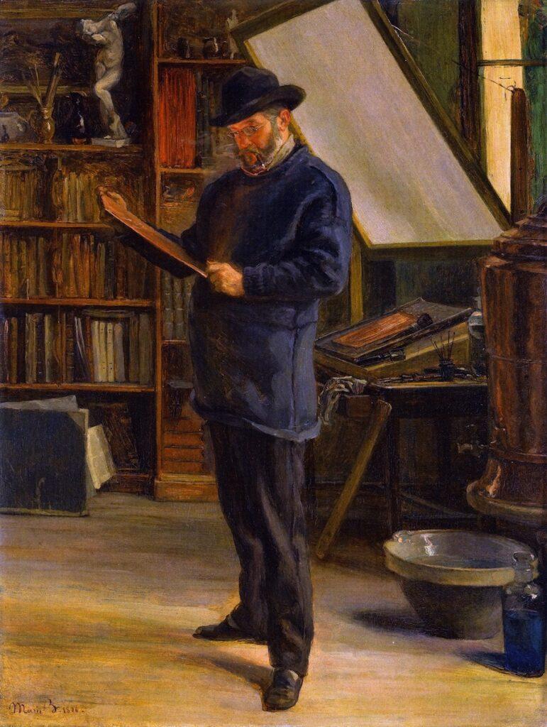 Marie Bracquemond, 8IE-1886-4, Portrait de M. F. Bracquemond =1886, Felix Bracquemond in his studio, 55x42, private (iR2;iR59;R2,p448;R90II,p25)