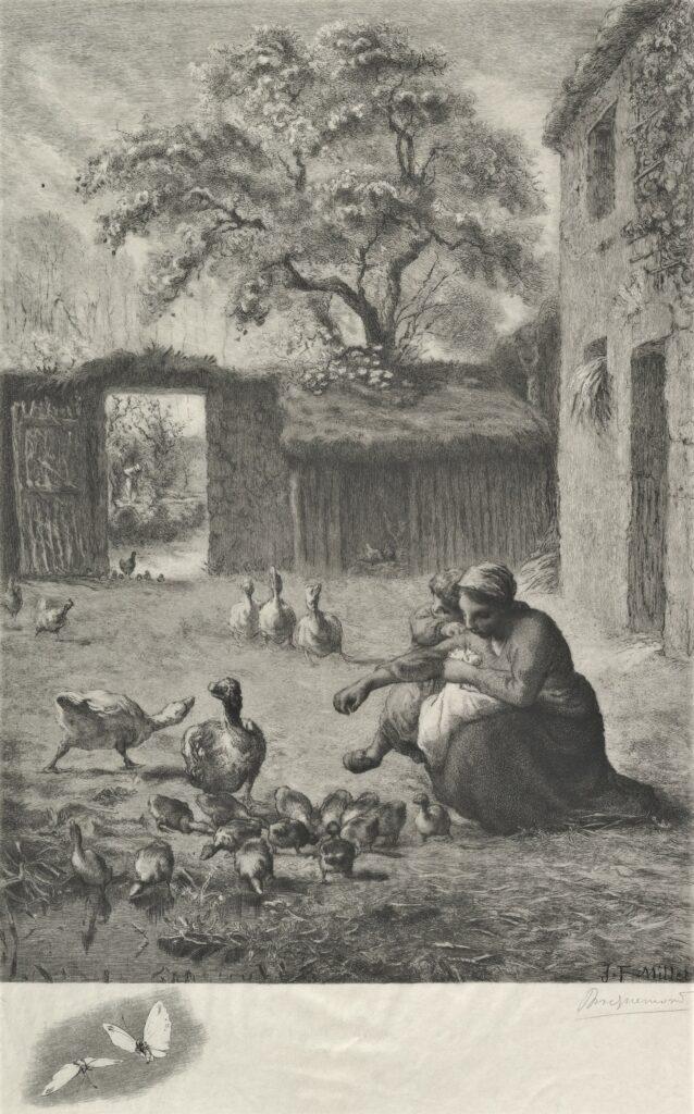 Félix Bracquemond, SdAF-1889-5350, Printemps; femme donnant à manger à des oisons, d'après Millet. Probably: 1888, B787, Spring, after a pastel by Millet, etch, 65x50, Metropolitan (iR10;Mx;iR1;R85,no787)